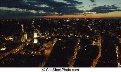ville, européen, vieux, lviv, au-dessus, sunrise., ukraine,...