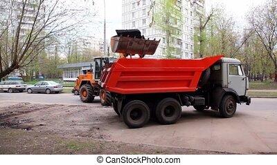 ville, excavateur, été, rue, camion, chargements, jour