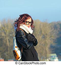 ville, extérieur, style de vie, depression., triste, automne, hipster, portrait, sexy, girl, portrait.