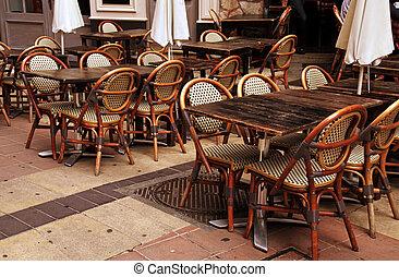 ville, extérieur, vieux, france française, gentil, café