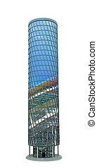 ville, fait, reflet, sky., moderne, illustration, gratte-ciel, verre, 3d