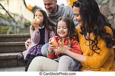 ville, famille, autumn., jeune, deux, petit, portrait, enfants