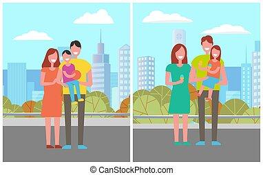 ville, famille, père, fils, parc, mère, heureux