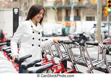ville, femme, -, bicycles, vélo, utilisation, public