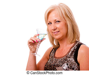 ville, femme, cocktail, elle, habillé, deux âges, 40s, joli, nuit, portrait, fête, ou, dehors