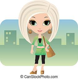 ville, femme, dessin animé