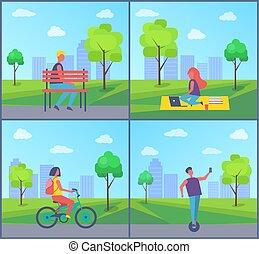 ville, femme, fonctionnement, parc, illustration, vecteur