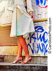 ville, femme, printemps, automne, mode, rue., robe