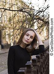 ville, femme, rue, joli, portrait