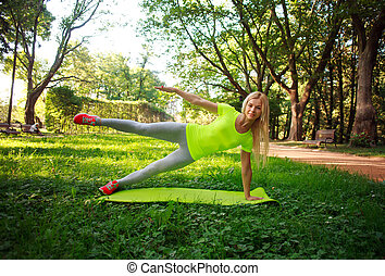 ville, femme, sportif, étirage, parc, jeune, vert, fitness, exercices