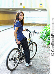 ville, femme, vélo, jeune, équitation