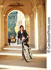 ville, femme, vélo, lumière, jeune, ancien, coucher soleil, vendange