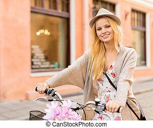 ville, femme, vélo, séduisant