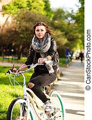 ville, femme, vélo, songeur, parc, jeune, vert, équitation