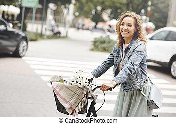 ville, femme, vélo, tours