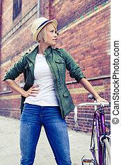 ville, femme, vendange, vélo, rue, hipster, route