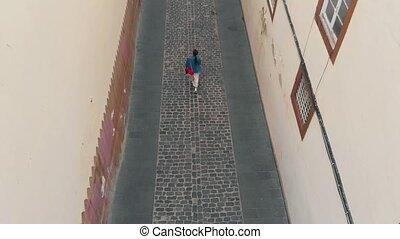 ville, femme, vieux, bird's-eye, île, sommet, promenades, jeune, bas, rue, gran, capital, vue., étroit, long, canaria