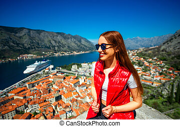 ville, femme, vieux, montenegro, kotor, voyager