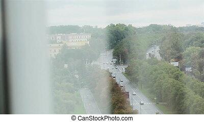 ville, fenêtre, avenue, vue