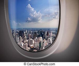 ville, fenêtre, avion, vue