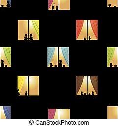 ville, fenetres, modèle, seamless, multicolore, nuit