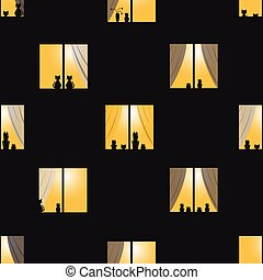 ville, fenetres, modèle, seamless, nuit, orange