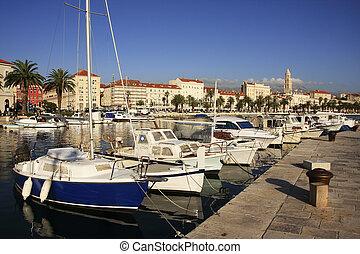 ville, fente, croatie, port