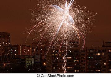 ville, feux artifice