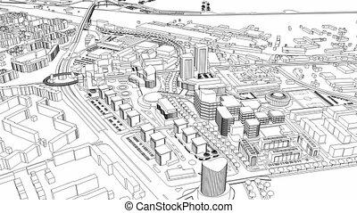 ville, fil, aérien, loopable, modèle, vue