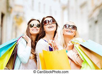 ville, filles, sacs provisions