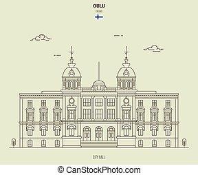 ville, finland., oulu, repère, salle, icône