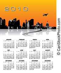 ville, fond, calendrier