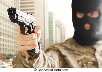 ville, fond, masque, fusil, noir, tenue, homme