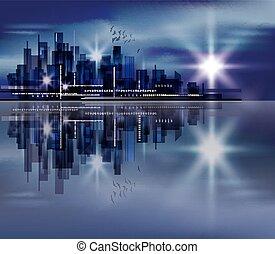 ville, fond, nuit