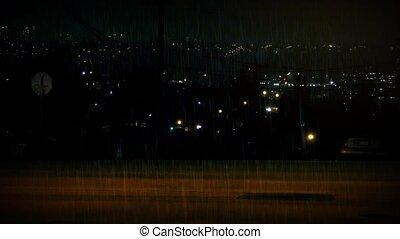 ville, fond, pluie, voitures