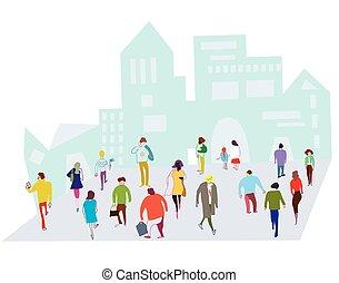 ville, foule, gens, -, illustration, rue