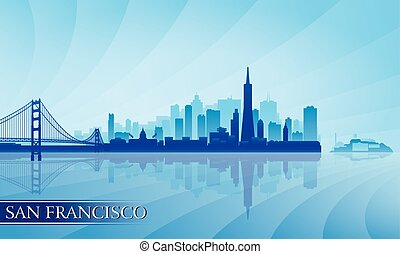 ville, francisco, silhouette, san, horizon, fond