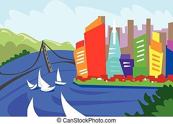 ville, francisco, silhouette, san, résumé, horizon, gratte-ciel