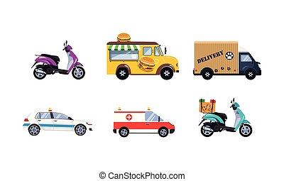 ville, fret, urbain, ensemble, véhicules, illustration, vecteur, fond, blanc, transport commun