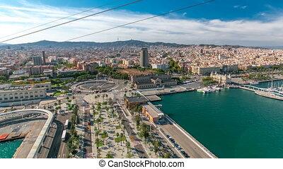 ville, funiculaire, timelapse, barcelone, horizon, marina, hyperlapse