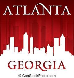 ville, géorgie, silhouette, horizon, fond, atlanta, rouges