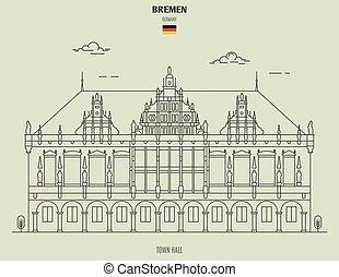 ville, germany., repère, bremen, salle, icône