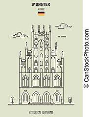ville, germany., repère, munster, salle, icône, historique