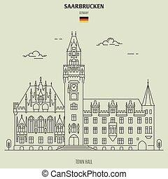 ville, germany., repère, salle, icône, saarbrucken
