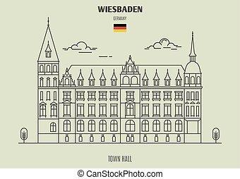 ville, germany., repère, wiesbaden, salle, icône