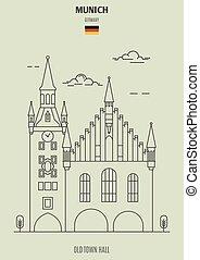 ville, germany., vieux, munich, repère, salle, icône