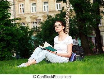 ville, girl, livre, parc, étudiant