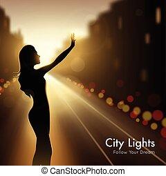 ville, girl, silhouette, lumières