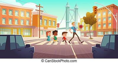 ville, gosses, croisement, carrefour, lumières, trafic