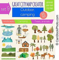 ville, grand, carte, créateur